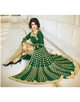 Festival Wear Green Georgette Slit Anarkali Suit - VELLORA-303