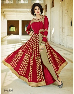 Red Georgette Slit Anarkali Suit - VELLORA-305