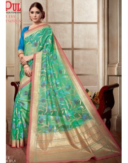 Casual Wear Green & Blue Kashida Silk Saree  - 19412