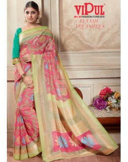 Casual Wear Pink & Green Kashida Silk Saree  - 19414