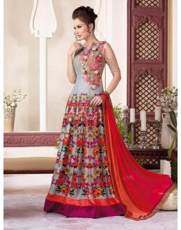 Festival Wear Grey Raw Silk Gown - VIPUL-3800A