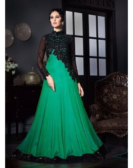 Festival Wear Green Silk Gown - VIPUL-3906A
