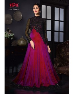 Wedding Wear Purple Silk Gown - VIPUL-3906