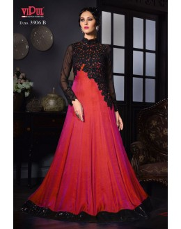 Fancy Red Silk Satin Gown - VIPUL-3906B