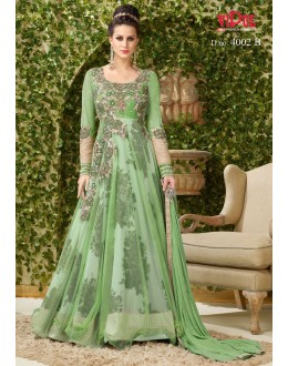 Wedding Wear Green Net Gown - VIPUL-4002B