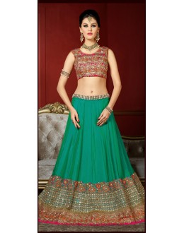 Ethnic Wear Green & Orange Bhagalpuri Lehenga Choli - 1002
