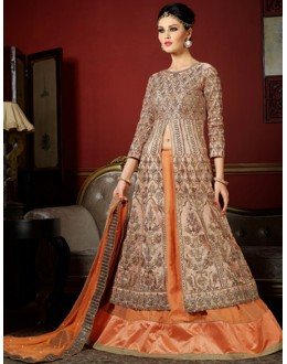 Bridal Wear Peach Jacquard Dhupion Lehenga Suit -1003