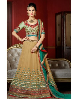 Festival Wear Beige & Green Georgette Lehenga Choli - 1007