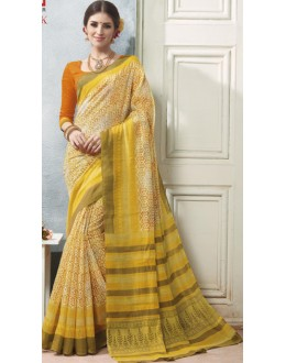 Casual Wear Yellow & Orange Linen Silk Saree  - 19009