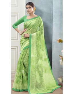 Casual Wear Green Linen Silk Saree  - 19012