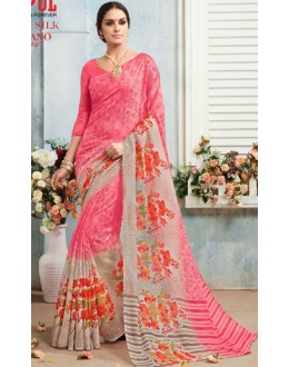 Casual Wear Pink Linen Silk Saree  - 19017