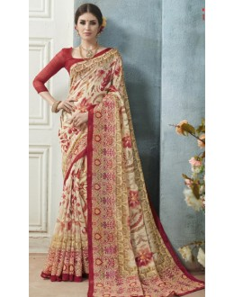 Casual Wear Multicolour Linen Silk Saree  - 19019