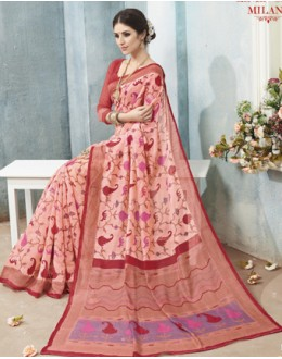 Casual Wear Pink Linen Silk Saree  - 19023
