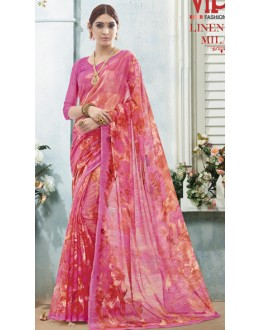 Casual Wear Pink Linen Silk Saree  - 19025