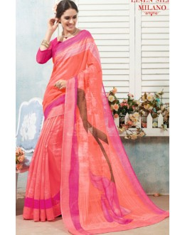 Casual Wear Peach & Pink Linen Silk Saree  - 19026