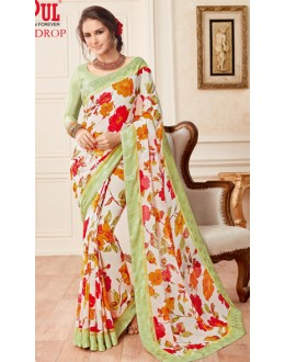 Casual Wear Multicolour Faux Georgette Saree  - 19612