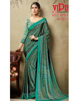 Casual Wear Green Crepe Silk Saree  - 19705
