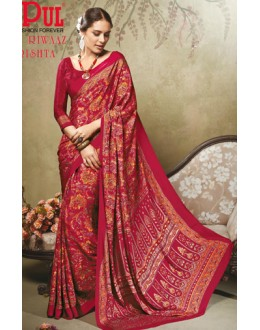 Casual Wear Red Crepe Silk Saree  - 19710