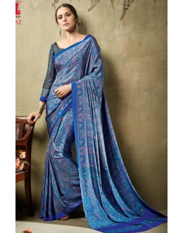 Casual Wear Blue Crepe Silk Saree  - 19712