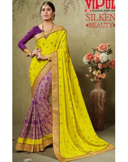 Casual Wear Yellow & Purple Art Silk Saree  - 19918