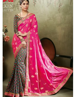 Casual Wear Pink & Multicolour Art Silk Saree  - 19923