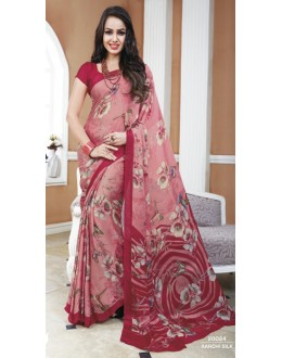 Casual Wear Pink & Maroon Crepe Silk Saree  - 20024