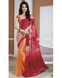 Casual Wear Pink & Orange Crepe Silk Saree  - 20030