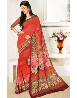 Casual Wear Pink Jacquard Georgette Saree  - 20429