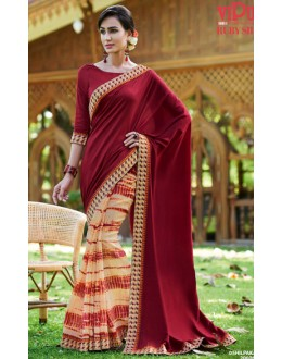 Festival Wear Maroon & Beige Ruby Silk Saree  - 20606