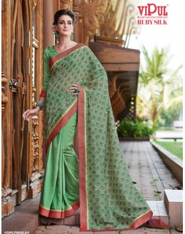 Casual Wear Green Ruby Silk Saree  - 20608