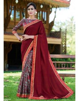 Party Wear Maroon & Grey Ruby Silk Saree  - 20610