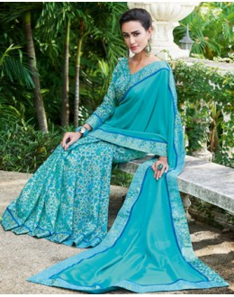 Casual Wear Sky Blue Ruby Silk Saree  - 20611