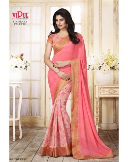 Party Wear Pink Georgette Saree  - VIPUL-20908