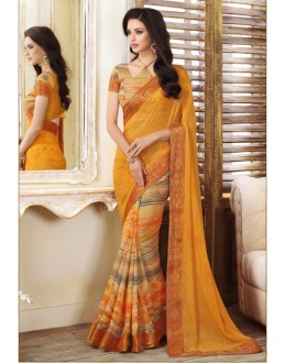 Ethnic Wear Yellow Georgette Saree  - VIPUL-20911