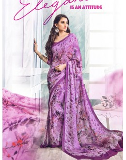 Casual Wear Purple Soft Georgette Saree  - 21009