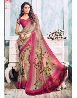 Festival Wear Beige & Pink Soft Georgette Saree  - 21013