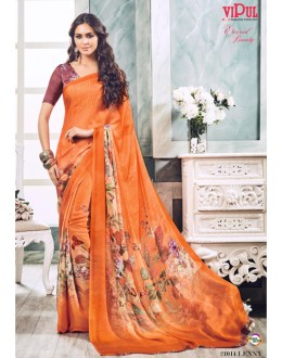 Casual Wear Orange Soft Georgette Saree  - 21014