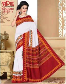 Party Wear White & Red Saree  - VIPUL-21423