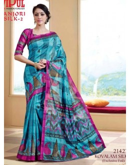 Ethnic Wear Sky Blue & Pink Saree  - VIPUL-21427