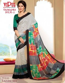 Casual Wear Multi-Colour & Green Saree  - VIPUL-21435