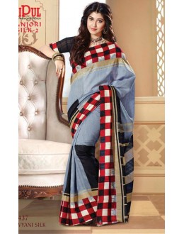Party Wear Grey & Black Saree  - VIPUL-21437