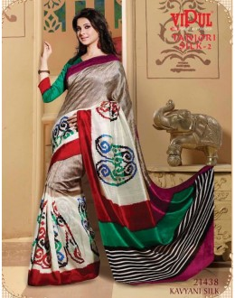 Ethnic Wear Multi-Colour & Green Saree  - VIPUL-21438