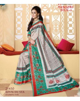 Festival Wear Grey & Turquoise Saree  - VIPUL-21450