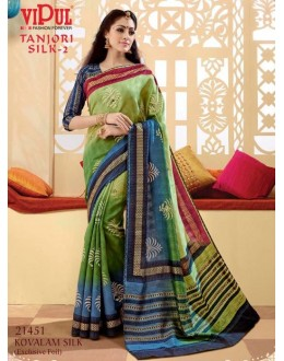 Festival Wear Green & Blue Saree  - VIPUL-21451