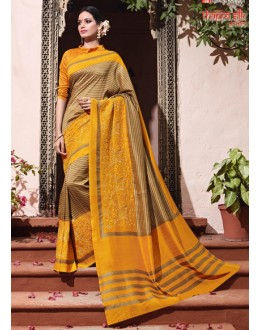 Ethnic Wear Mustard Thappa Silk Saree - VIPUL-30231