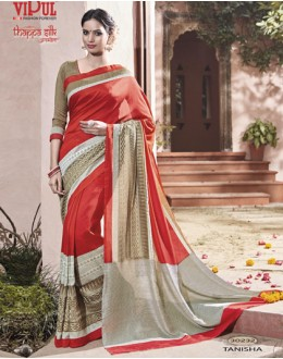 Party Wear Red Thappa Silk Saree - VIPUL-30232