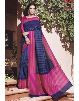 Ethnic Wear Blue Thappa Silk Saree - VIPUL-30236