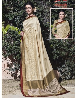 Ethnic Wear Cream Thappa Silk Saree - VIPUL-30239