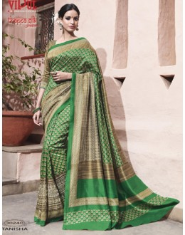 Party Wear Green Thappa Silk Saree - VIPUL-30240