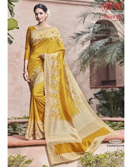 Ethnic Wear Yellow Thappa Silk Saree - VIPUL-30241